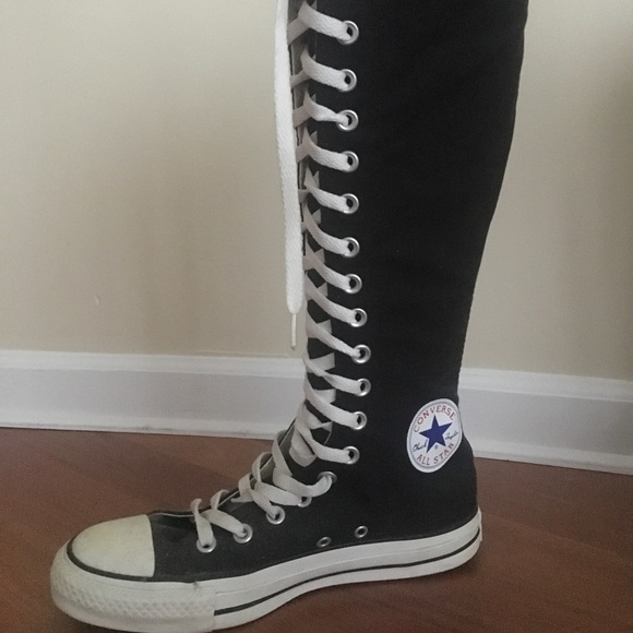 15b3f7ea32c Converse Shoes - Black Converse Lace Up Knee High Sneaker Boots- 8